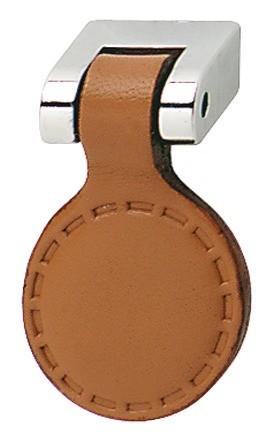 Knopgreb, brun læder cirkel, poleret sokkel
