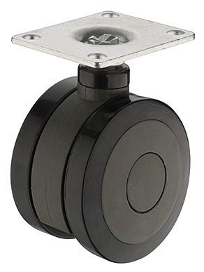 Image of   Møbelhjul, Antracit, 100 kg, monteringsplade, fast