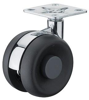 Image of   Møbelhjul, sort kunststof, krom center, montageplade, 50 kg