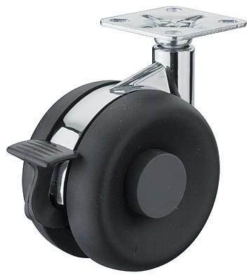 Image of   Møbelhjul, sort kunststof, krom center, med bremse, 50 kg