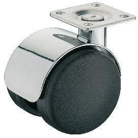 Image of   Møbelhjul, sort med krom skærm, montageplade, 50 kg