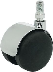 Image of   Møbelhjul, sort med krom skærm, M10 gevindtap, 50 kg