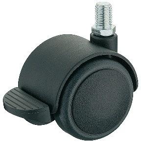 Image of   Møbelhjul, simpel sort, M10 gevindtap, med bremse, 50 kg