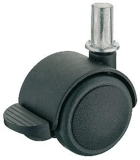 Image of   Møbelhjul, simpel sort, ipresning, med bremse, 50 kg