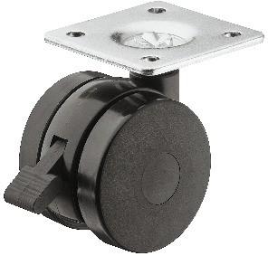 Image of   Møbelhjul, uden skærm, montageplade - Med bremse