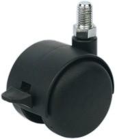 Image of   Møbelhjul - med skærm og bremse, gevindtap