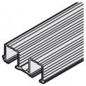 Dobbeltløbeskinne - 16 mm not - Aluminium