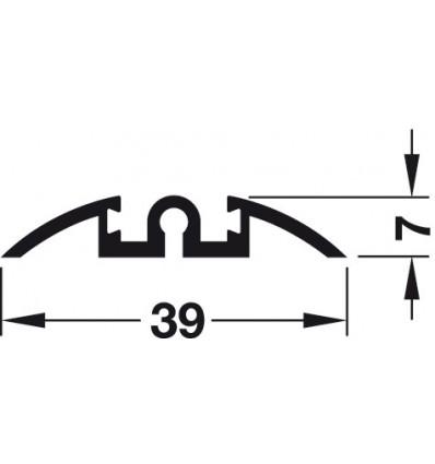 Enkeltløbeskinne til påklæbning - Aluminium