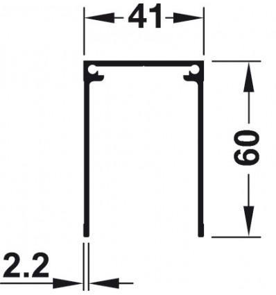 Enkeltstyreskinne til påskruning - højde 60 mm - Aluminium