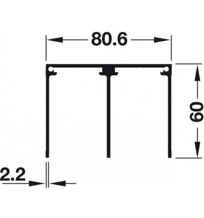 Dobbeltstyreskinne til påskruning - højde 60 mm - Aluminium