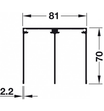 Dobbeltstyreskinne til påskruning - højde 70 mm - Aluminium