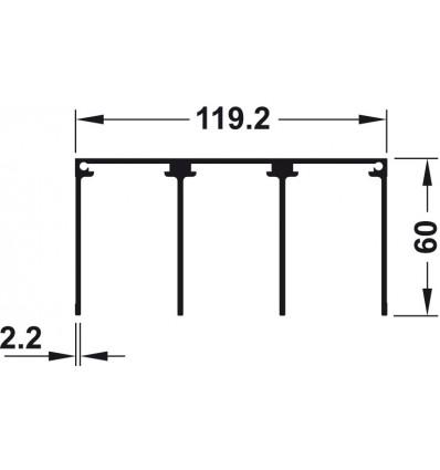 Tredobbelt styreskinne til påskruning - højde 60 mm - Aluminium