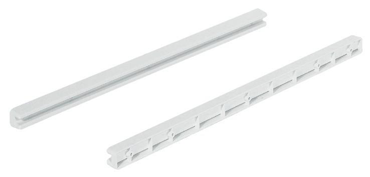 Glideskinne i hvidt kunststof - 430 mm - 1 par