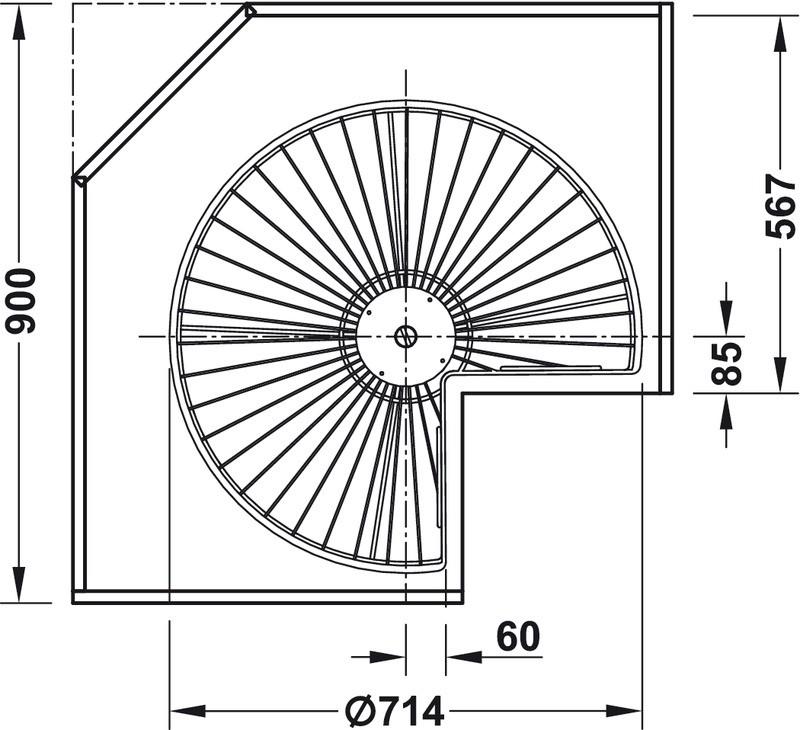 Häfele trekvartcirkel-drejebeslag med drejehylder