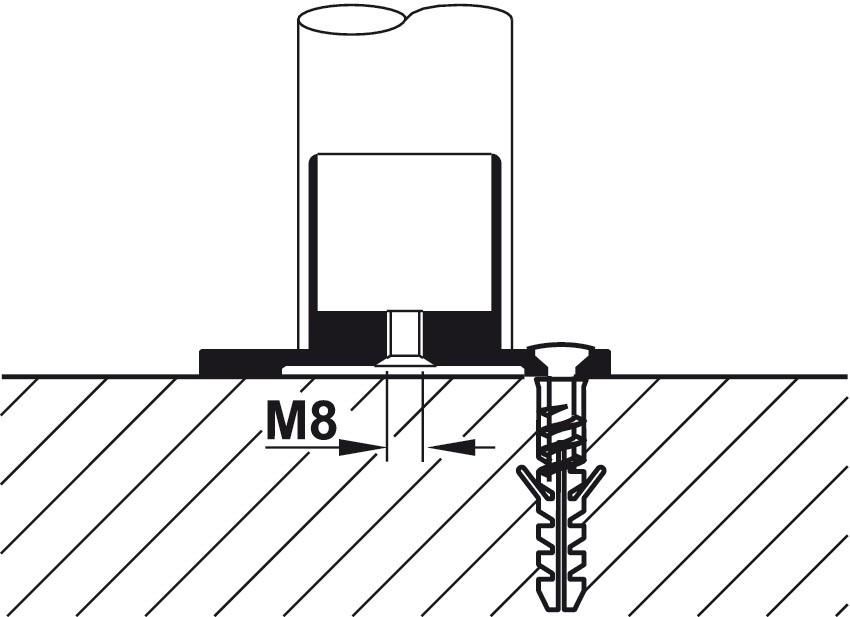 Gelænderholder - endestykke - til isætning - stålfarvet
