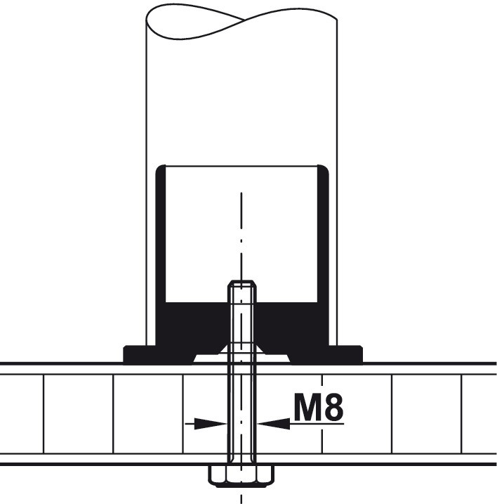 Gelænderholder - endestykke - skjult montage - stålfarvet