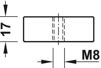 Gelænderholder - endestykke med M8 gevind - sort kunststof