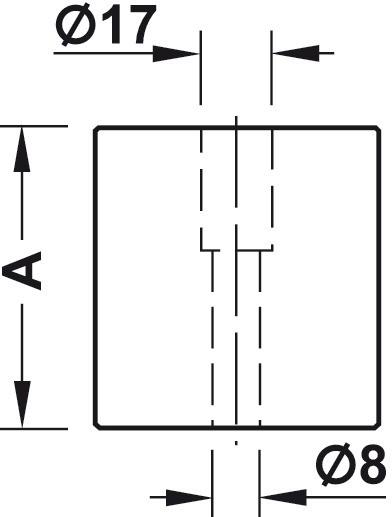 Gelænderholder - endestykke med aftappet boring - sort kunststof