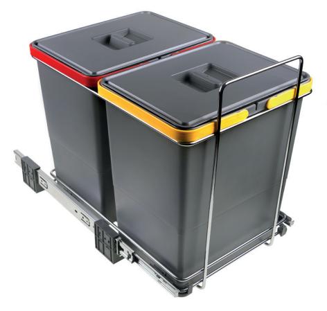 Affaldssortering - skraldespand - 2x18 liter - med bundudtræk.