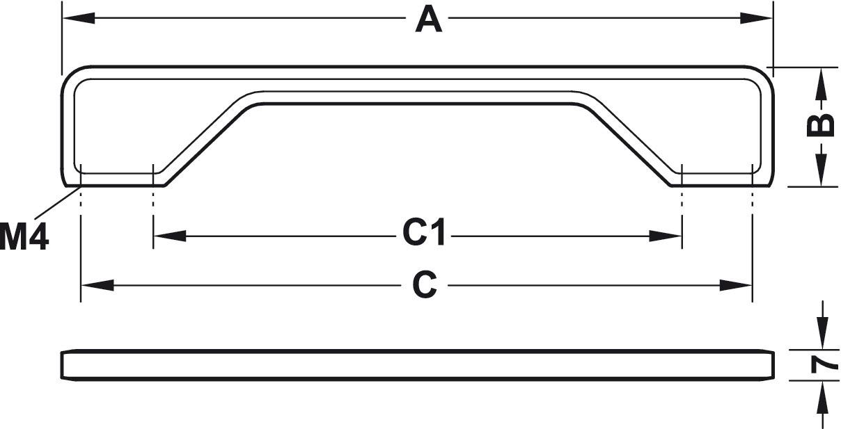 Image of   Enkelt firkantet greb Zinkegering, forkromet poleret