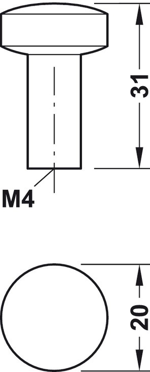 Image of   Jernfarvet knopgreb Zinklegering, Model H1340 - brugt look