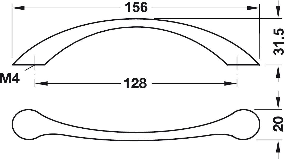 Image of   Enkelt stålfarvet buegreb med brede sokler, zinklegering
