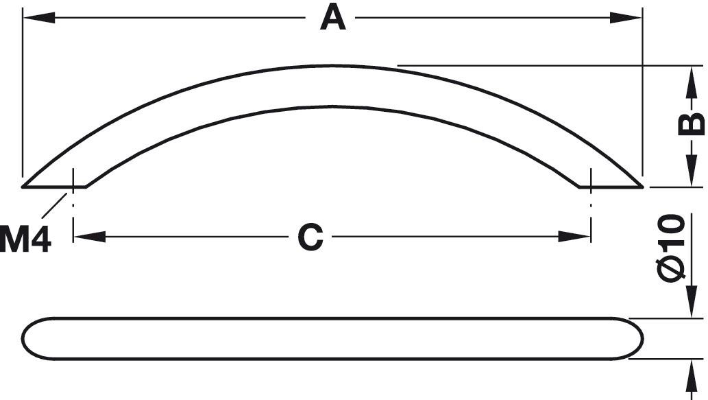 Image of   Bøjlehåndtag, rustfrit stål, mat børstet, 10 mm diameter