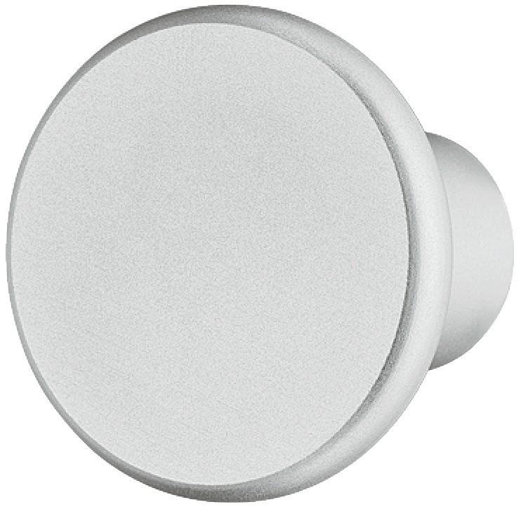 Image of   Rundt fladt knopgreb, aluminium, sølvfarvet eloxeret