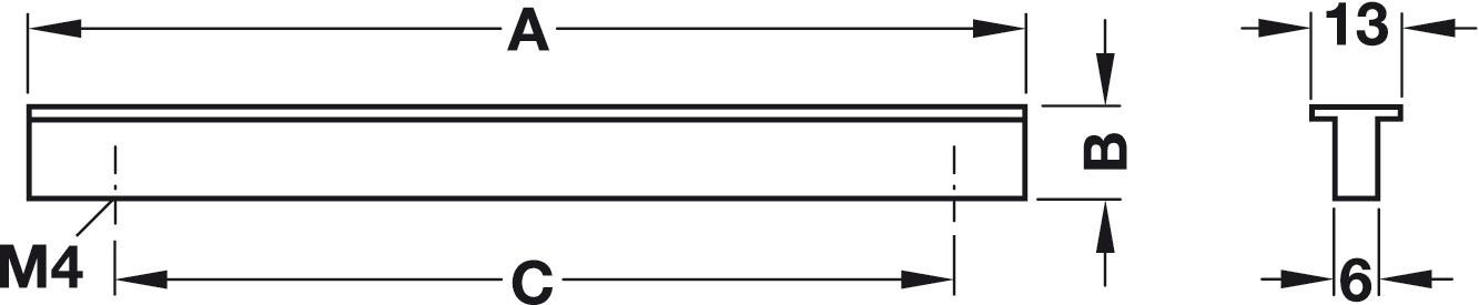 Image of   Billig T-formet gribeliste, sølvfarvet eloxeret, aluminium