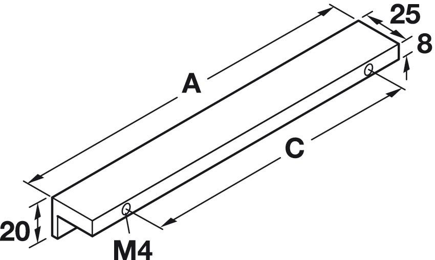 Image of   Stålfarvet gribeliste i aluminium