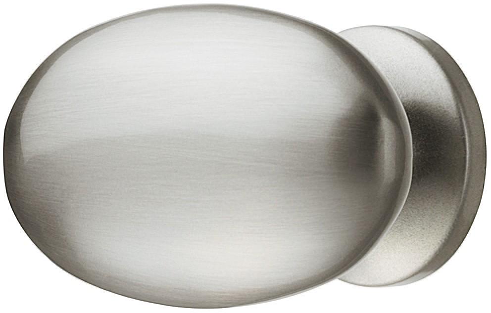 Image of   Enkel og elegant oval knopgreb i forniklet mat børstet zinklegering