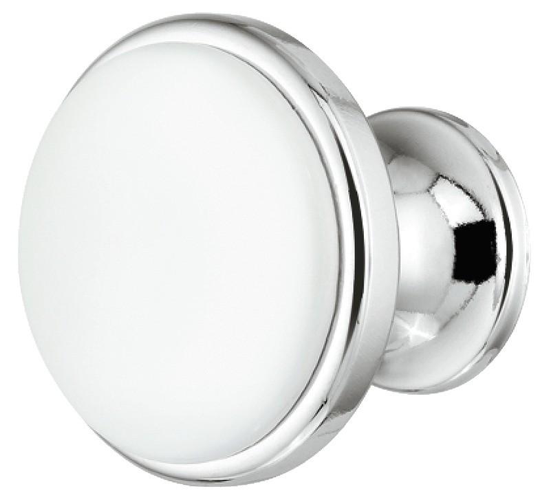 Image of   Traditionel rund forkromet og poleret knopgreb med hvid indlæg i zinklegering