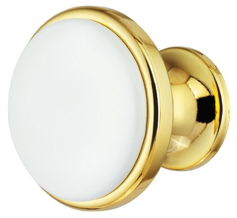 Image of   Rund guldfarvet og poleret knopgreb med hvid indlæg i zinklegering