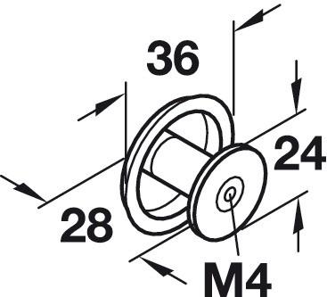 Image of   Svampeformet knopgreb i forkromet og poleret zinklegering