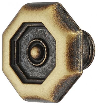 Antik ottekantet knopgreb i brun zinklegering