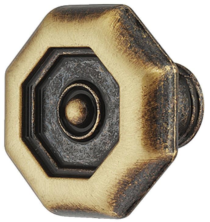 Image of   Antik ottekantet knopgreb i brun zinklegering