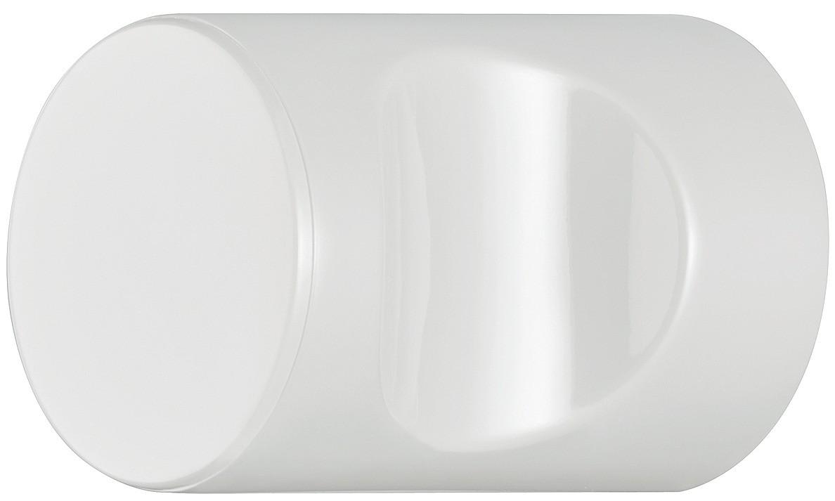 Image of   Cylindrisk knopgreb med fordybning, ren hvid, polyamid