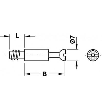 Minifix samlebolt, borehul Ø 5mm