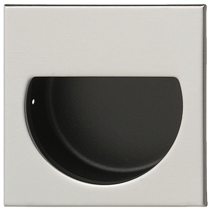 Image of   Skålegreb i rustfrit stål, udvendigt firkantet, indvendigt halvcirkel, mat børstet og sort