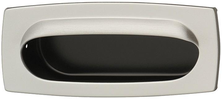 Image of   Skålegreb i rustfrit stål, udvendigt firkantet, indvendigt oval, mat børstet og sort