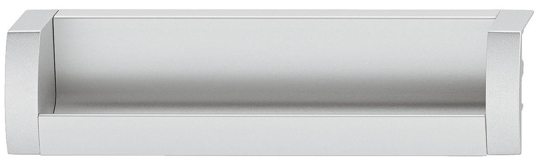 Image of   Aflang skålegreb med åben foroven, sølvfarvet og aluminium