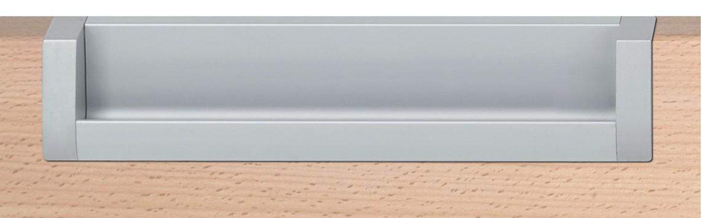 Image of   Aflang skålegreb med åben foroven, stålfarvet og aluminium