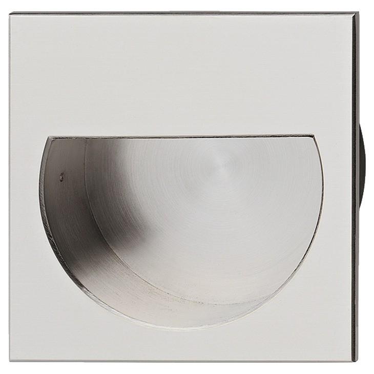 Image of   Firkantet messing skålegreb med indvendigt halvcirkel i forkromet mat