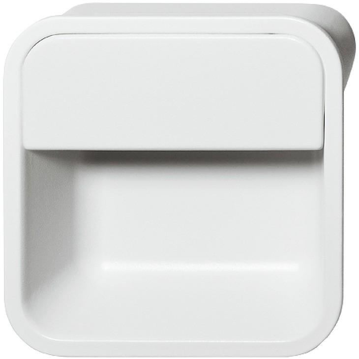 Image of   Firkantet mat hvid skålegreb i zinklegering