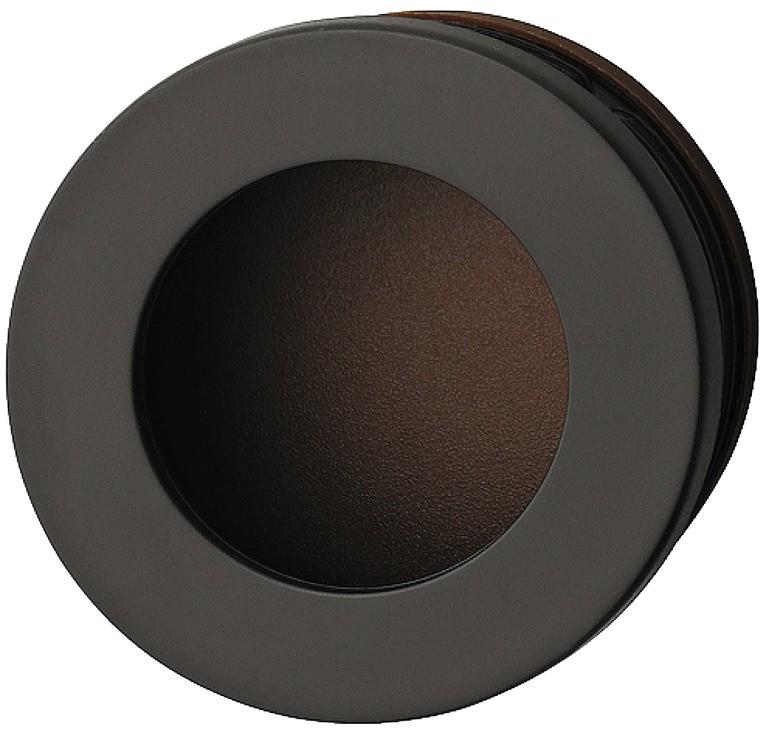 Image of   Cirkelformet skålegreb med lille kant i mørkebrun kunststof
