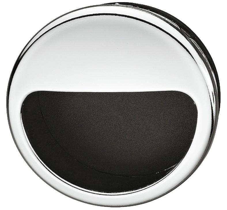 Image of   Forkromet poleret cirkelformet skålegreb med sort indvendigt i kunststof