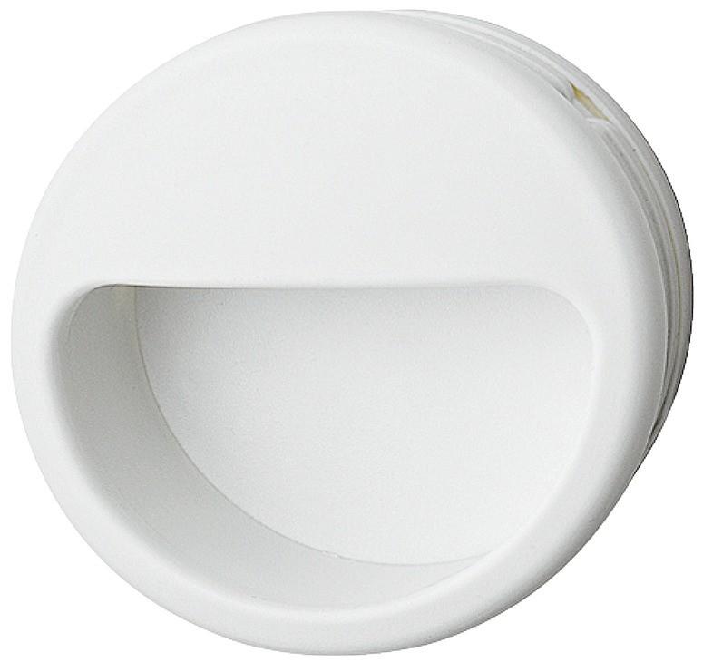 Image of   Hvid cirkelformet skålegreb i kunststof Ø55 mm