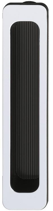 Billede af Smal og rektangulær skålegreb med mat sølvfarvet front, indvendigt sort i kunststof