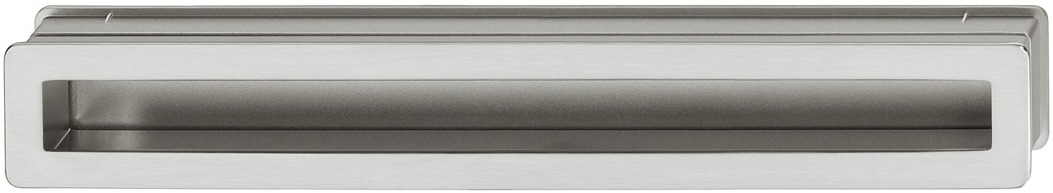 Image of   Aflang og smal skålegreb i stålfarvet zinklegering