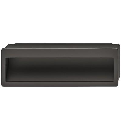 Rektangulær skålegreb i sort mat zinklegering med buede bagplade